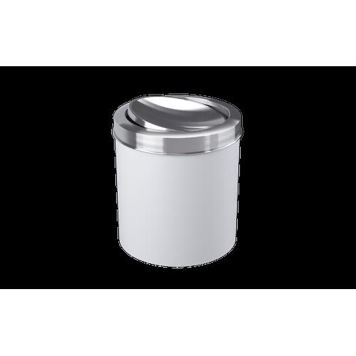 Lixeira com Tampa Basculante Inox 5,4L 19,5x20x22,4cm Branco Coza