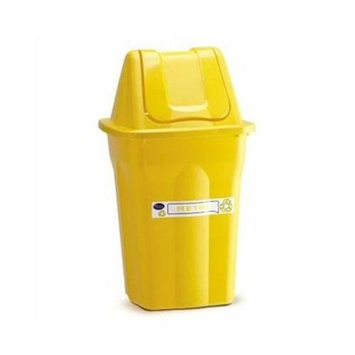 Lixeira de Plastico com Tampa Vai e Vem Santana Amarela 60 Litros