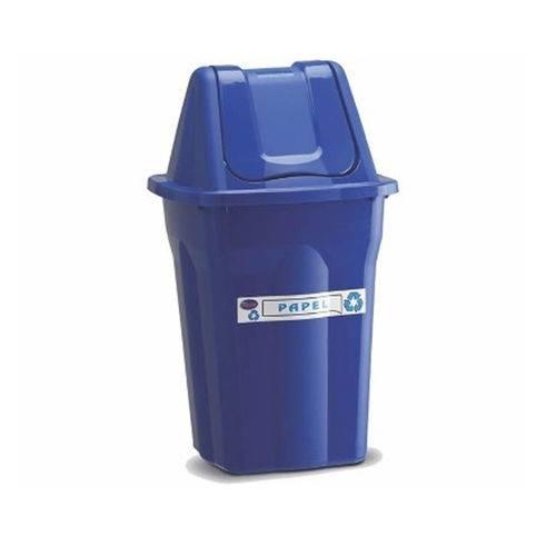 Lixeira de Plastico com Tampa Vai e Vem Santana Azul 60 Litros