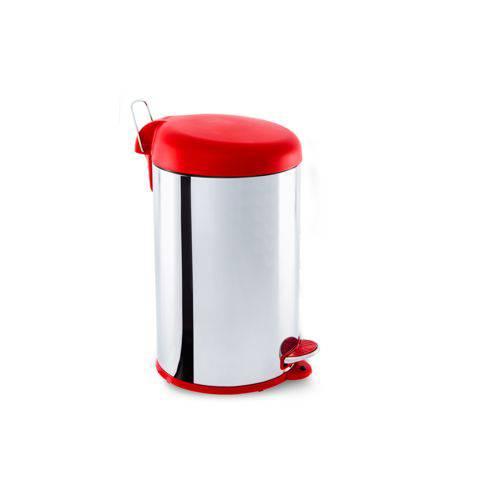 Lixeira Inox com Pedal e Tampa Plastica 12Litros - Decorline Lixeiras Ø 25 X 43 Cm 12 L Vermelho Marca Brinox