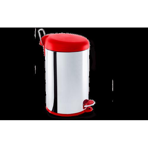 Lixeira Inox com Pedal e Tampa Plastica 12Litros - Decorline Lixeiras Ø 25 X 43 Cm 12 L Vermelho