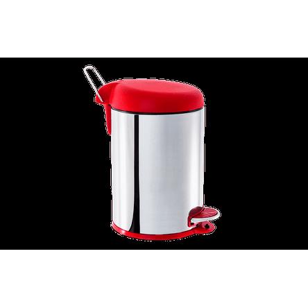 Lixeira Inox com Pedal e Tampa Plastica 5 L - Decorline Lixeiras Ø 20 X 31 Cm Vermelho Brinox