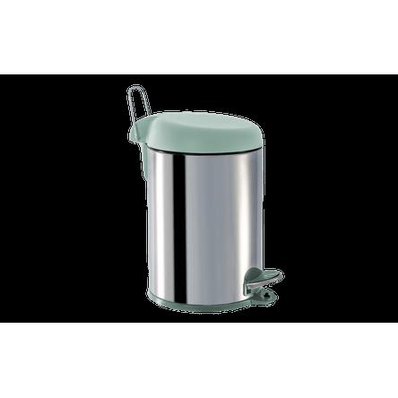 Lixeira Inox com Pedal e Tampa Plástica 5 Litros - Decorline Lixeiras Ø 20 X 31 Cm Menta Brinox