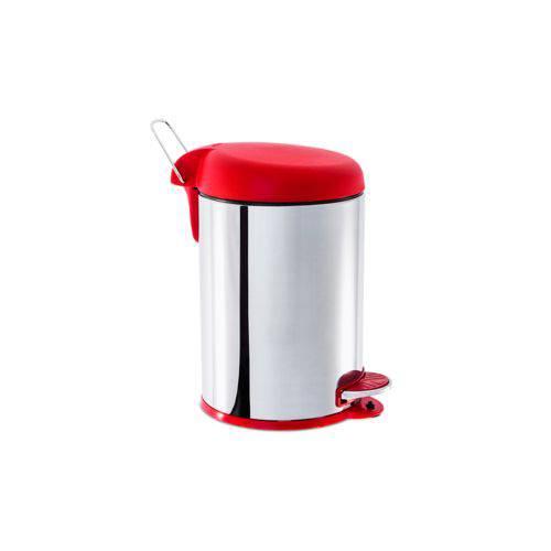 Lixeira Inox com Pedal e Tampa Plástica 5 Litros - Decorline Lixeiras Ø 20 X 31 Cm Vermelho Marca Brinox