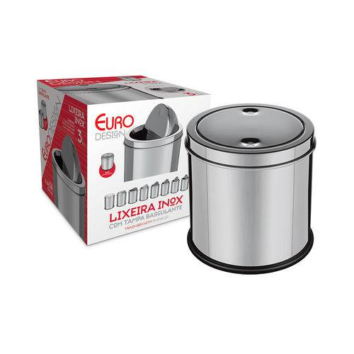 Lixeira JXFG3L 3 Litros de Aço Inox Euro Home