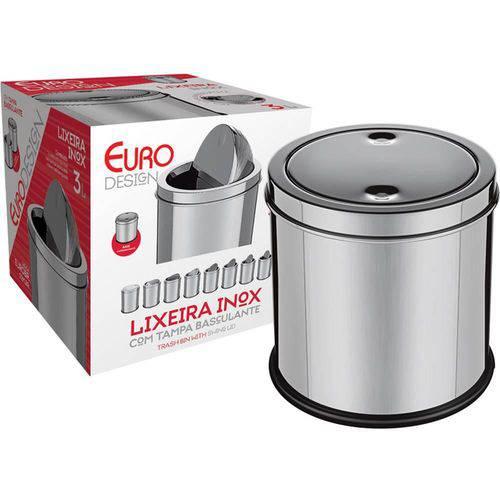 Lixeira 3 Litros com Tampa Basculante Inox Euro