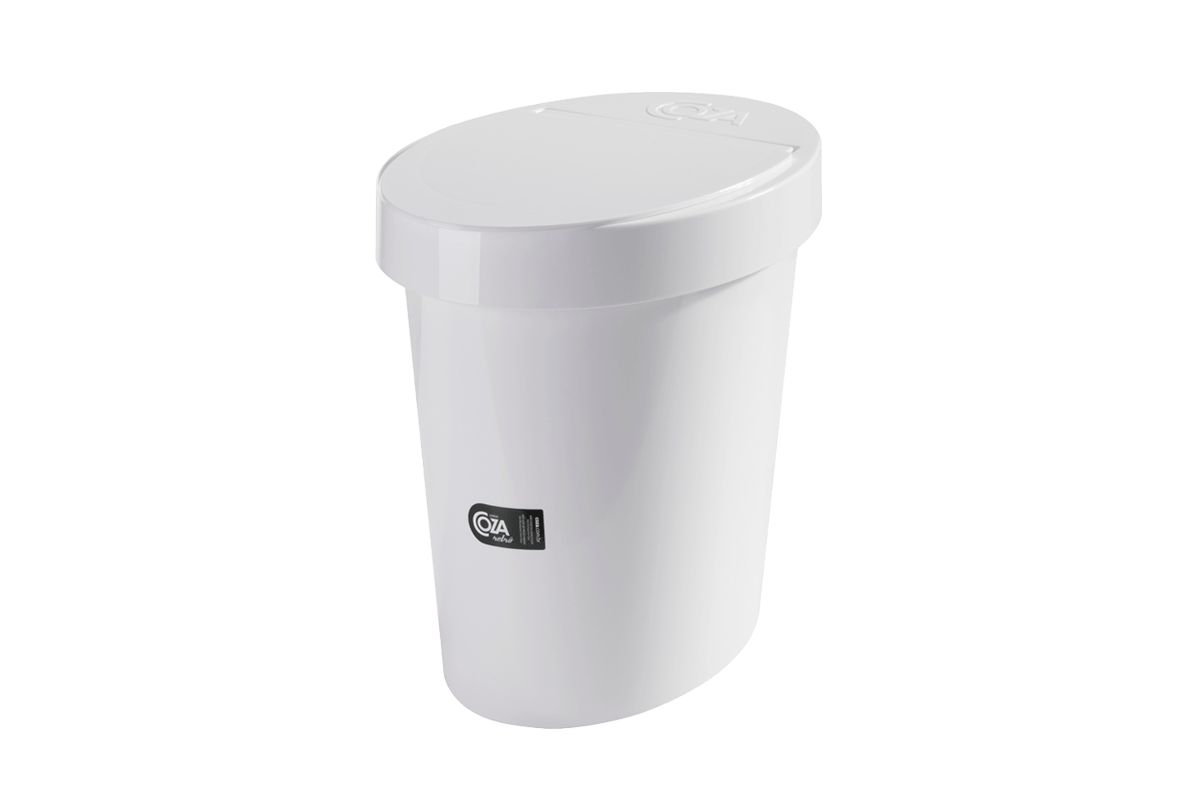 Lixeira Oval Glass 5 L 26,2 X 18,4 X 24,6 Cm Branco Coza