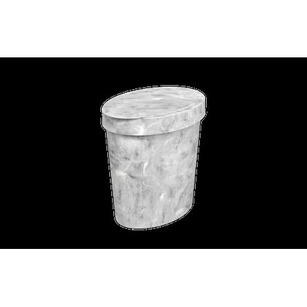 Lixeira Oval Glass 5 L 26,2 X 18,4 X 24,6 Cm Mármore Branco Coza