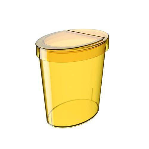 Lixeira Oval Glass 5 L Amarela - Coza