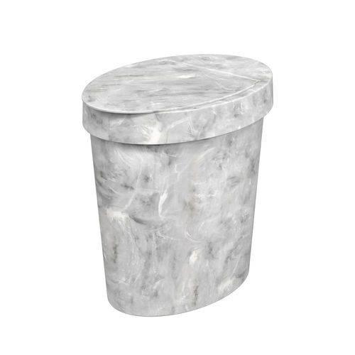 Lixeira Oval Glass 5 L Mármore Branco - Coza