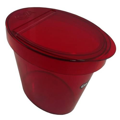 Lixeira Oval Retrô Poliestireno 5L Vermelho Transparente