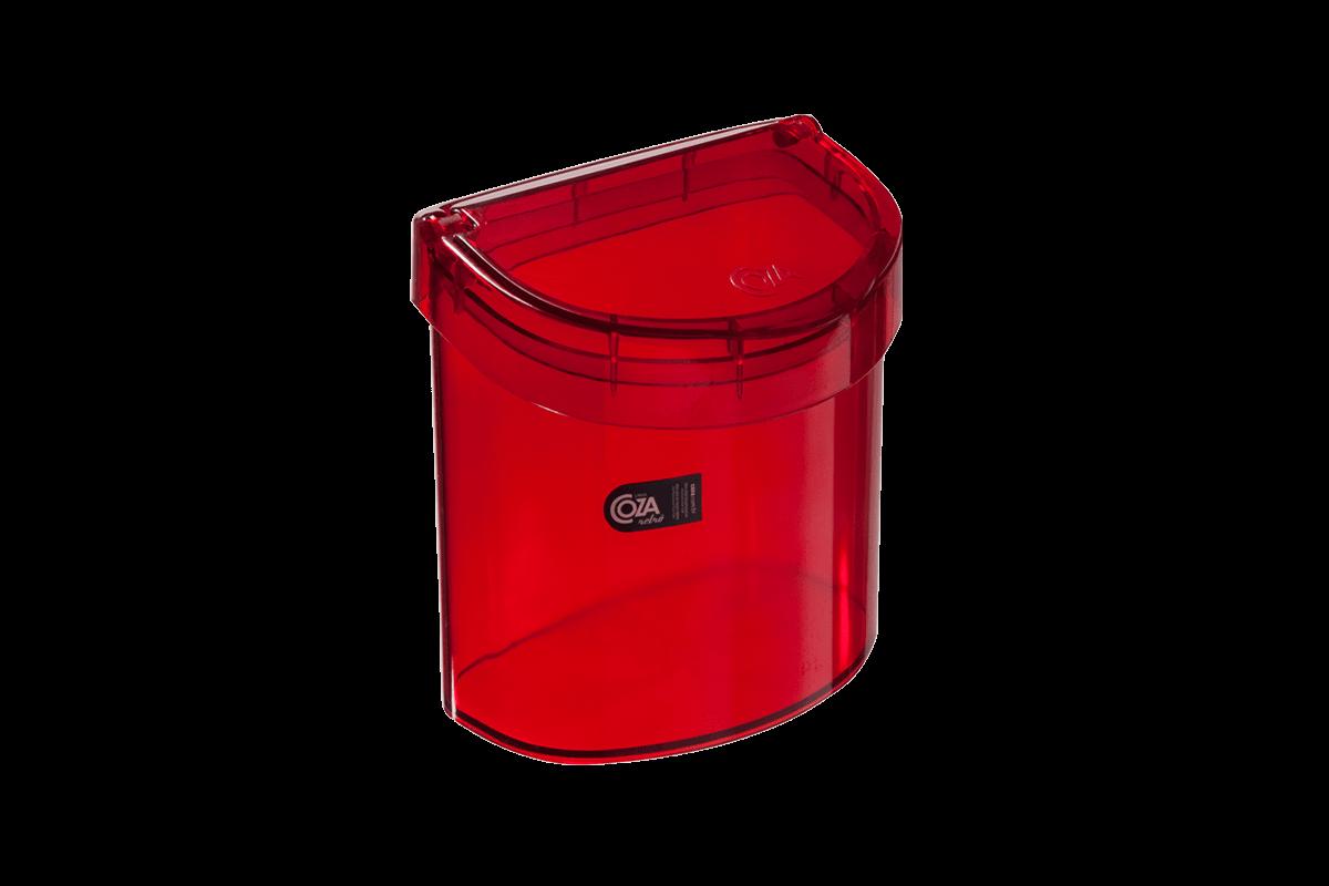 Lixeira para Pia 2,7 L Glass 20,3 X 14,6 X 21,3 Cm Vermelho Transparente Coza