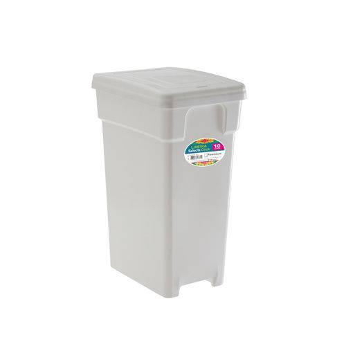 Lixeira Plástica com Tampa 10 Litros Branca - Selecta Click - Paramount