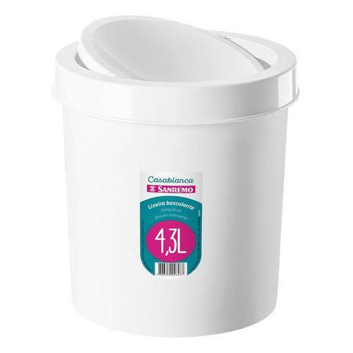 Lixeira Plástico 4,3l Basculante Branco Sanremo