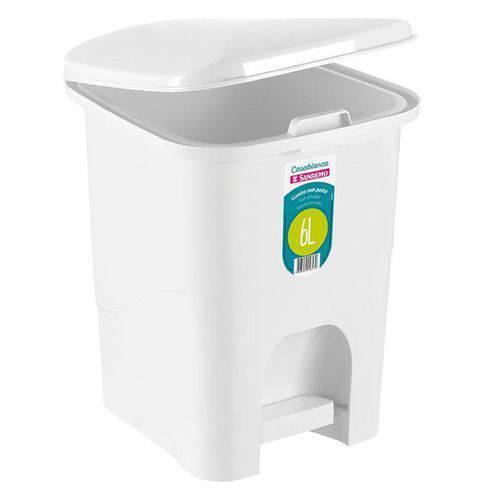 Lixeira Plástico 6L com Tampa-Branco Sanremo