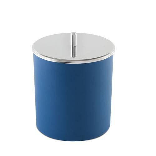 Lixeira Pp Azul Tampa Inox 18,5x23cm
