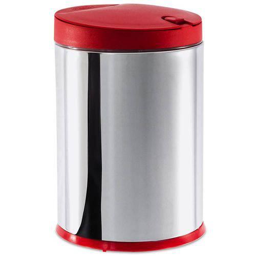 Lixeira Press Aço Inox 4 Litros Vermelha 3050/212 Brinox