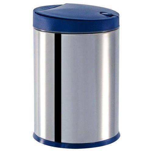 Lixeira Press Aço Inox com Tampa 4 Litros Azul - Brinox