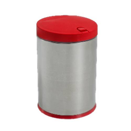Lixeira Press Aço Inox Tampa Polipropileno Vermelha 4 Litros Ø17 Cm