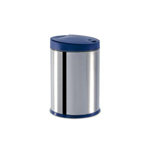 Lixeira Press Inox com Tampa - Linha Pia Ø 17 X 25 Cm - 4 L Azul Marca Brinox