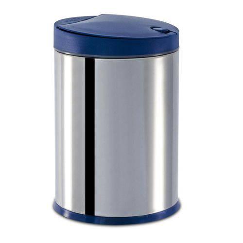 Lixeira Press Inox com Tampa 4 Litros Azul