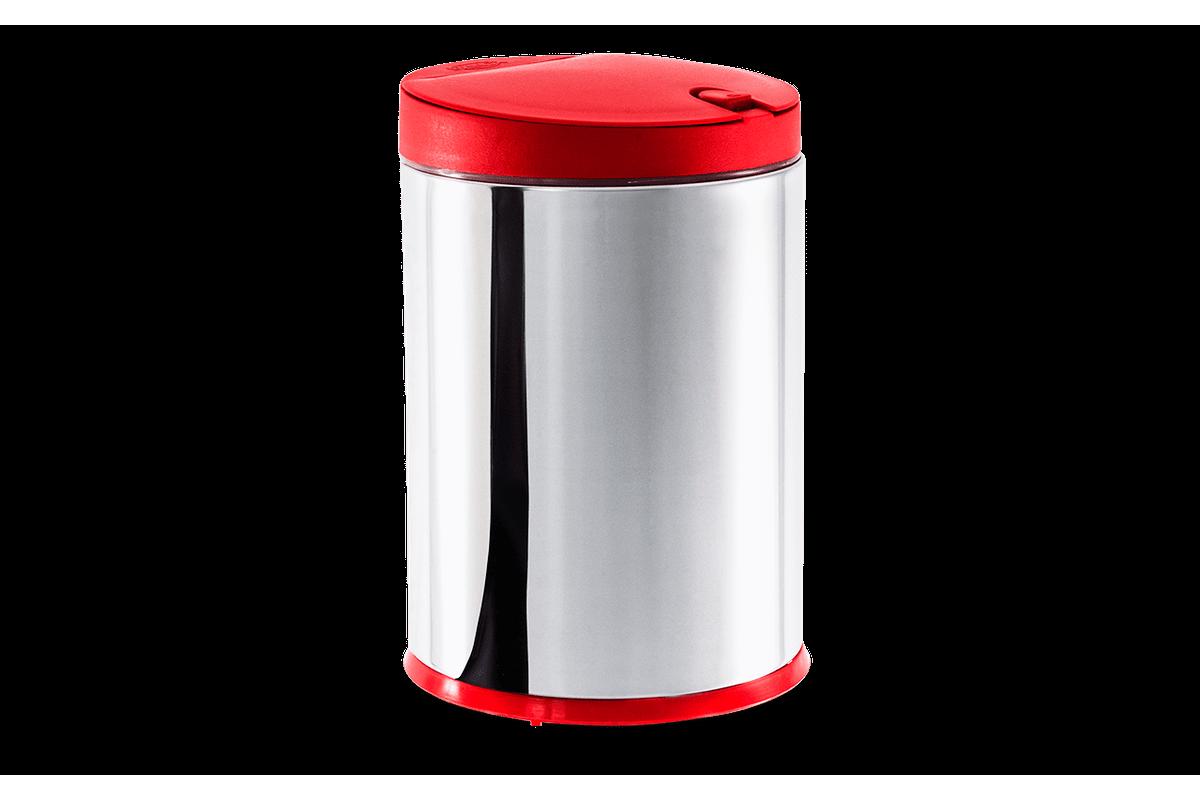Lixeira Press Inox com Tampa - Linha Pia Ø 17 X 25 Cm - 4 L Vermelho Brinox