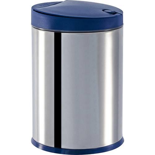 Lixeira Press Inox com Tampa PP Azul 4L - Brinox
