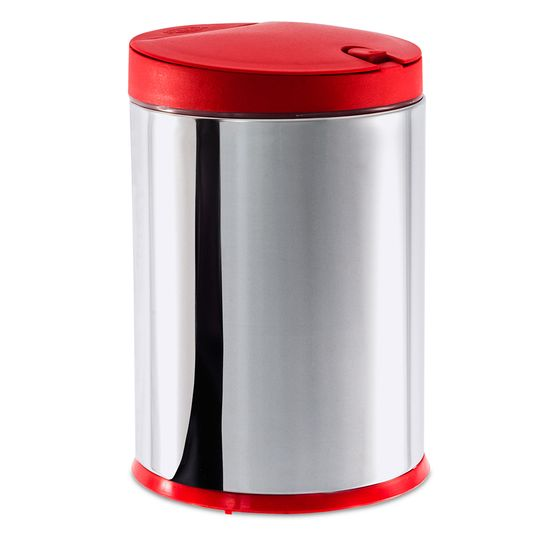 Lixeira Press Inox com Tampa Vermelha 4l