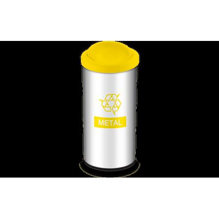 Lixeira Seletiva com Tampa Basculante e Adesivo Amarela 40,5 Litros - Decorline Lixeiras Ø 30 X 60 Cm - Brinox