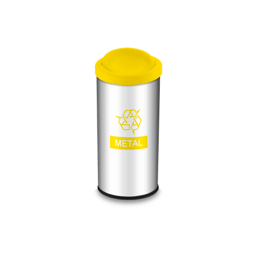 Lixeira Seletiva com Tampa Basculante e Adesivo Amarela 40,5 Litros - Decorline Lixeiras Ø 30 X 60 Cm