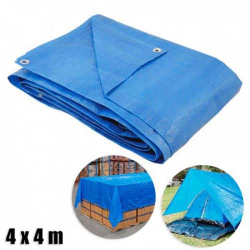 Lona Multiuso com Ilhos 4 X 4 M Encerado de Polietileno Azul Bel