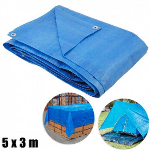 Lona Multiuso com Ilhos 5 X 3 M Encerado de Polietileno Azul Bel