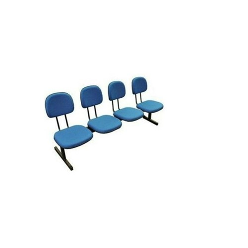 Longarina Secretária 4 Lugares em Tecido Azul MQ09 Pethiflex