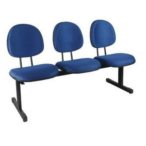 Longarina Secretária 3 Lugares Couro Ecológico Azul Pethiflex