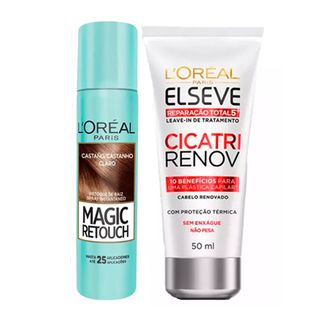 L'Oréal Paris Magic Retouch + Cicatri Renov Kit - Leave-In + Corretivo Capilar Castanho Claro Kit