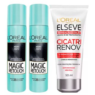 L'Oréal Paris Magic Retouch + Ganhe Cicatri Renov Kit - Leave-In + 2 Corretivos Capilar Preto Kit