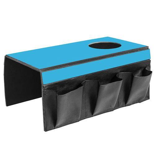 Lugar Americano para Sofá com 1 Espaço para Copo e 3 Bolsos - 40x30 Cm - Laminado Azul