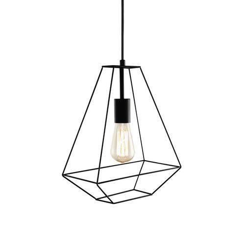 Luminária Lustre Pendente 30x37x15cm Metal Preto