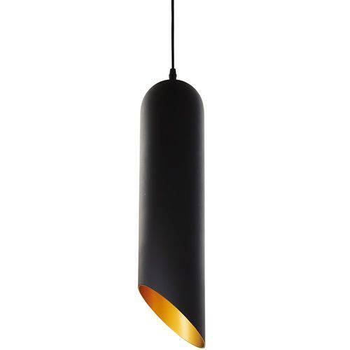 Luminária Lustre Pendente 10x36x10cm Metal Preto