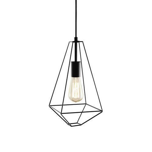 Luminária Lustre Pendente 18x36,5x18cm Metal Preto