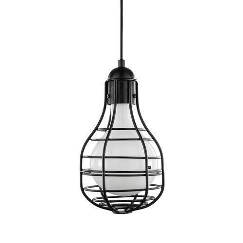 Luminária Lustre Pendente 18x32x18cm Metal Preto