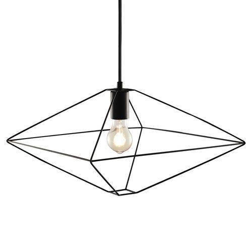 Luminária Lustre Pendente 40x26x40cm Metal Preto