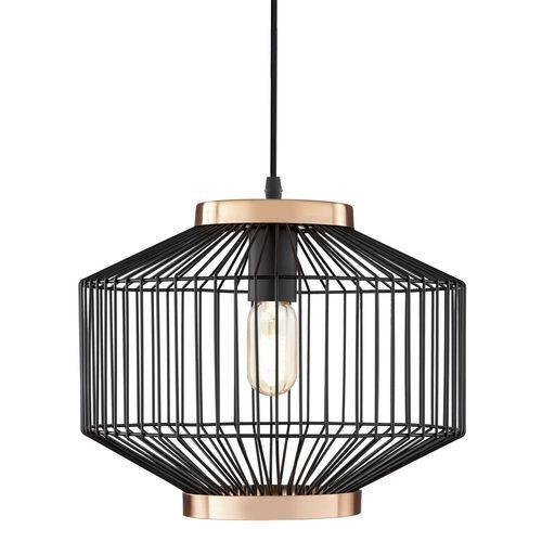 Luminária Lustre Pendente 34x29x34cm Metal Preto