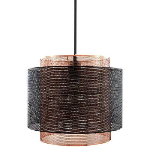 Luminária Lustre Pendente 25,5x23x25,5cm Metal Preto