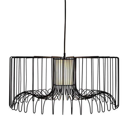Luminária Lustre Pendente 75x37x75cm Metal Preto