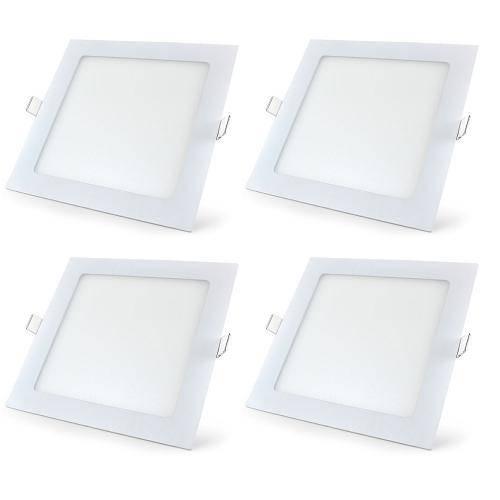 Luminária Painel Led Plafon de Embutir Quadrado 18w Branco Frio Kit 4