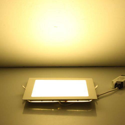 Luminária Painel Led Plafon de Embutir Quadrado 18w Branco Quente