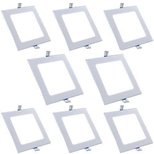 Luminária Painel Led Plafon de Embutir Quadrado 12w Branco Frio Kit 8