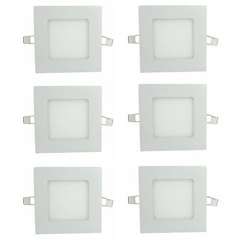 Luminária Painel Led Plafon de Embutir Quadrado 6w Branco Quente Kit 6