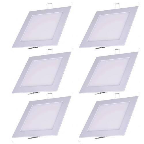 Luminária Painel Led Plafon de Embutir Quadrado 9w Branco Frio Kit 6